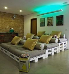 Create a home theater without dropping the big bucks on original theater seating! #HomeDesignIdeas