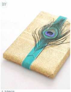 Peacock feather gift wrap ~ exotically pretty.