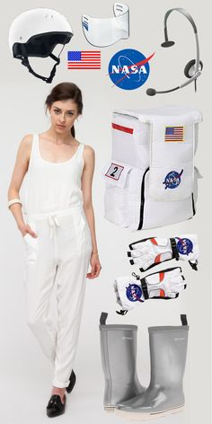 NASA Astronaut costume! Style DIY costumes with this super fun, easy tool (WiShi). It's a styling website where you style people's real clothing in their virtual closets. #Fashion #Style #Costume #Halloween #DIY Connect via Facebook for free in seconds. ♥