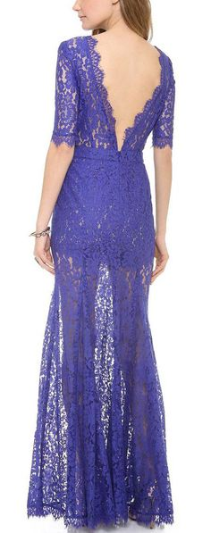 Lace V back gown
