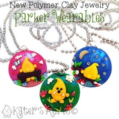 Parker Wearable Polymer Clay Jewelry by KatersAcres   Available for adoption, Made to Order Polymer Clay Pendant Necklaces