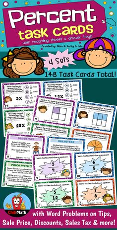 This pack includes four (4) sets of percent task cards for a total of one hundred forty-eight (148) cards! $