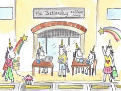 hipster unicorns at the coffee shop