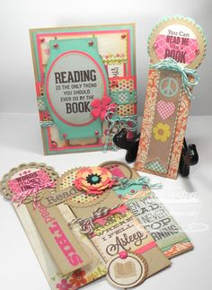 I made a card and bookmarks with the fabulous MFT Bookmark Duo Stamp and Die-namics set.
