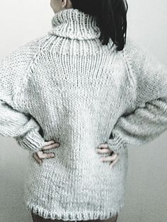 Back view of 'Three Movies Sweater' by Handarbetaren knit in super bulky yarn on 9mm needles ..... 5-6 wpi. Pretty cute and in two sizes