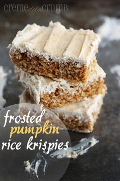 Cream Cheese Frosted Pumpkin Rice Krispies. Now here is a treat that will disappear asap.