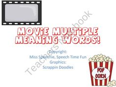 Movie Multiple Meaning Words product from Speech Time Fun on TeachersNotebook.com