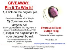 GIVEAWAY - Pin It To Win It: To Win This Item from TrinketsNWhatnots.etsy.com, follow the instructions: Click on ORIGINAL pin, comment leaving a way to contact you, REPIN the ORIGINAL Pin! Contest ends 7/11/12 @ 11:59pm EST. Winner announced 7/12/12.