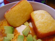Corn bread made with yellow cake mix and jiffy cornbread mix.  Must try!