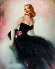 vintag, 1950s, edward runci, dresses, art, pinup girl, pin up girls, black, snow white