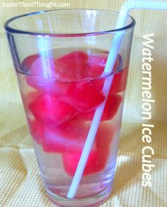 """Freeze cubes of watermelon for a tasty """"ice cube"""", add to water.  One of my favorite refreshing drinks any time or add to fruit drinks!"""