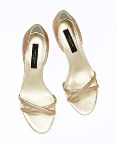 Ann Taylor - Metallic Strappy Kitten Heel Sandals