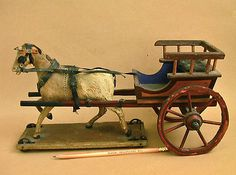 Antique 19th Century Horse Cart Pull Toy Germany 1800s Wood Hair Miniature