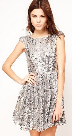 silver sequins. the perfect holiday party dress!