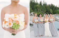 The bridesmaids look elegant in gray dresses accented by peach and white bouquets. Emily Scannell Photography.