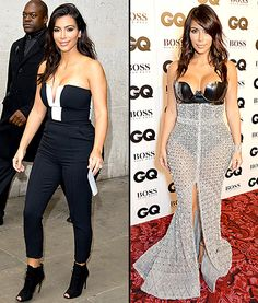 Kim Kardashian wears a jumpsuit after opting for a sheer skirt at the GQ Men of the Year Awards