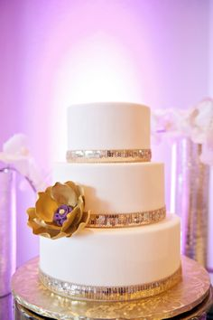 Lovely modern wedding cake with sequin accents! Photographer: In Style Imagery / Wedding Planner/Coordinator: Michele Butler Events / Cake Baker: Anna Cakes