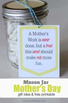 Mason Jar Mother's Day gift idea and free printable