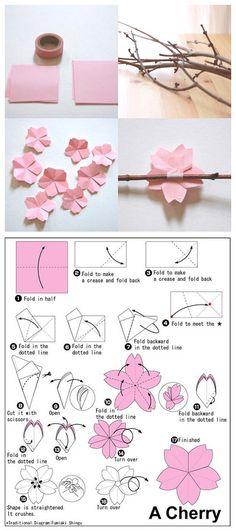 craft, cherri blossom, blossom trees, paper flowers, papers, cherries, diy, origami flowers, cherry blossoms