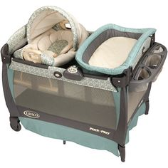When we picked out our pack'n'play, I opted for the cheaper, simpler model which was just the play pen, no bassinet or changing table on top.  Kind of wish I would have gotten the deluxe version like this one.  Especially having the c-section and kidney stones/stent, I couldn't have foreseen how immobile I was going to be.  And in that first month or two, all babies do is eat-sleep-poop.