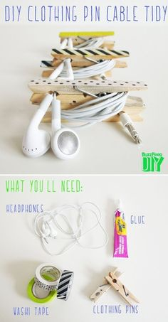 Keep your tangly cables together with clothespins. | The 52 Easiest And Quickest DIY Projects Of All Time