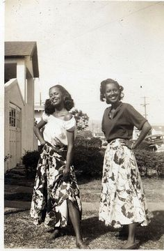 full skirts, vintage beauty, two sisters, 40s style, american beauty, young women, cooking tips, black history, floral fashion