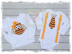 Boy Girl Matching Outfit with Chevron Owl by BetterThanBows, $39.95