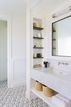 Master bathroom with marble vanity. Katie Martinez Design