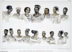 Black Slaves Of Different Nation In Brazil by Jean Baptiste Debret (1768-1848, France)(Retratos na Missão Artśitica Francesa)