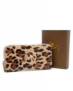 Michael Kors Wallet Leopard Grain Beige
