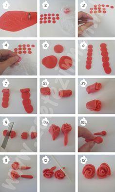 How-to snel roosje van fondant variant 1 (how-to rose made of fondant/gumpaste)