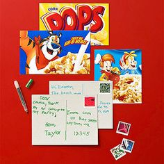 DIY Fun cereal box idea: Turn bright, cartoony boxes into postcards by cutting panels from them.@Phyllis Garcia magazine craft kids, box idea, art crafts, fun mail ideas, cereal box crafts, cereal boxes, box postcard, diy postcards, postcards diy