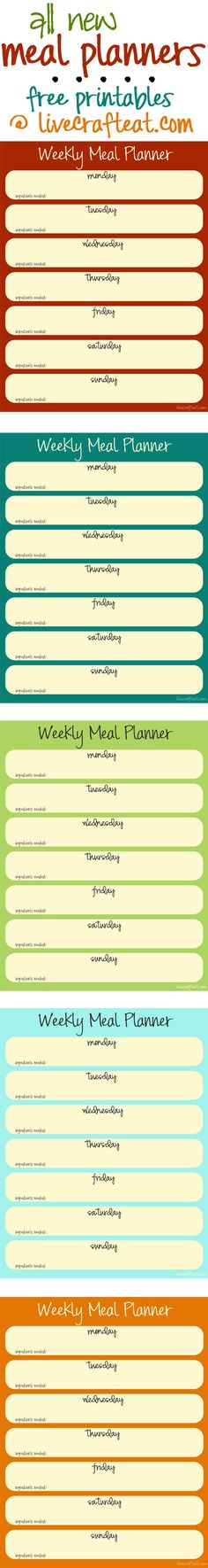 Free menu planners from livecrafteat.com