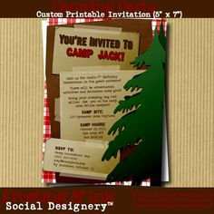 Camp Party Invitation and Thank You Note by Frosting & Ink on Etsy  (#camping #invite #party #camp out #camp party #camp invite #boyscout #topper)