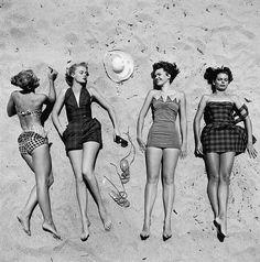 summertime vintage summer, art, girlfriend, at the beach, beach fashion, beach time, bathing beauties, beach girls, 50s
