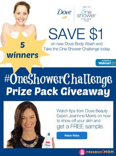 ‪#‎FREEBIE‬: Dove Body Wash to take the ‪#‎OneShowerChallenge‬  ~ #‎GIVEAWAY‬ http://freebies4mom.com/oneshowerchallenge ‪#‎ad‬ (ends Sept. 24)