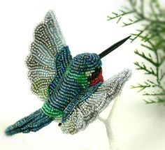 Hummingbird Christmas Ornament Beaded Bird ClipOn by MeredithDada