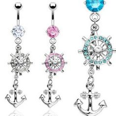 www.adriftaccesso... NEW STOCK!  Dangle Anchor Belly Rings - $10~!  Lots more on the site.