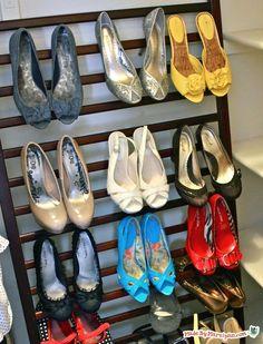 old crib = shoe storage!