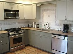 kitchen cabinets, two toned