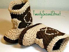 Baby  Booties  Two Tone Brown Cowboy Booties by TwentySecondStreet, $16.00