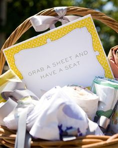 Grab a sheet and have a seat...Picnic style seating for a garden wedding! blanket, wedding receptions, wedding picnic, seat, weddings, hay bales, picnics, vintage sheets, picnic baskets