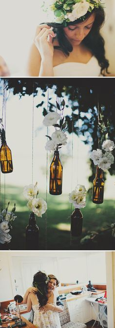 white flowers, glasses, hanging flowers, candles, bouquets, beer bottles, decorations, wine bottles, outdoor weddings
