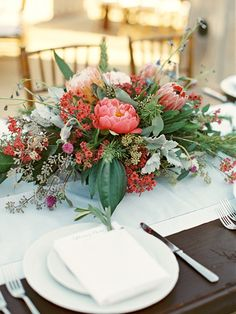 Peony centerpiece - love the salmon and mint combination