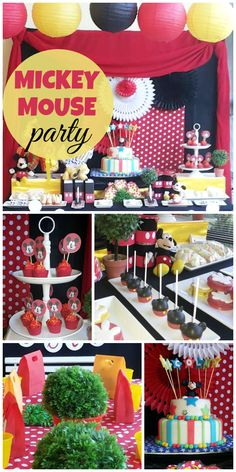 An awesome Mickey Mouse boy birthday party with red, white, black and yellow party decorations!  See more party planning ideas at CatchMyParty.com!