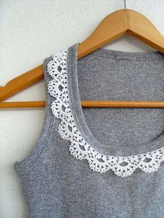 Crocheted Lace Collar Cotton Yarn Top
