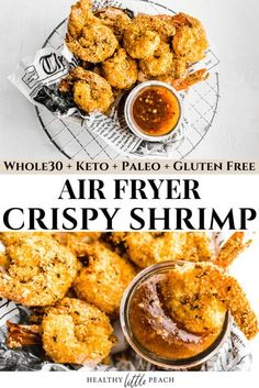 These Keto Air Fryer Shrimp are so crispy and delicious you won't believe they're healthy. To top these off, I dip them in my homemade Keto Sweet Chili Sauce. This combo is so amazing is will leave you craving it weekly. The Shrimp is Whole30, Keto and Paleo. #airfryershrimp #ketoairfryershrimp #airfryerrecipes #ketorecipes #whole30 #whole30recipes #paleorecipes #crispydhrimp