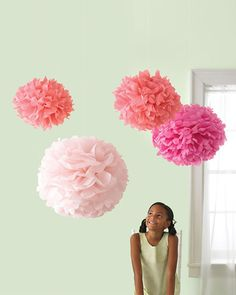 Puffs of color to hang in her bedroom-good fine motor activity for her little hands.Classroom decoration also??