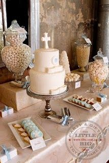 Beautiful 1st communion dessert table {little big company}