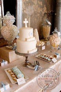 Beautiful 1st communion dessert table {little big company}